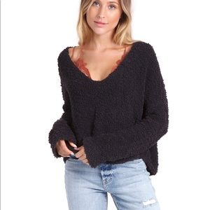 Free People Black Popcorn Sweater